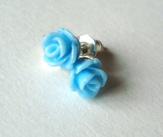 Rose Earring Studs, Light Blue Flower Earrings, Blue Rose Earrings, Studs, Silver Posts (tiny)