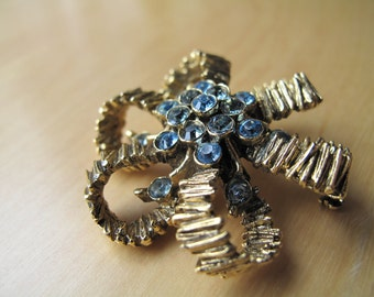 blue rhinestone gold-tone bow brooch pin