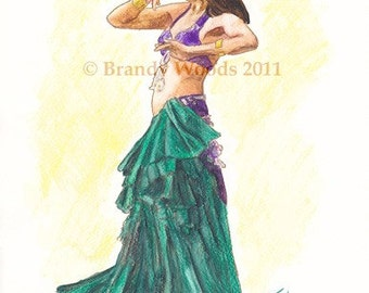 Belly Dance Renaissance Renfest Gypsy Boho ACEO fantasy art print - Brandy Woods