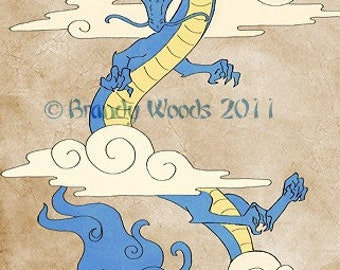 Chinese Japanese DRAGON art ACEO painting Brandy Woods