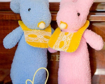 Mali Sock Doll, Sock Rabbits, Newborn Safe Pink Fluffy Baby Sock Bunnies
