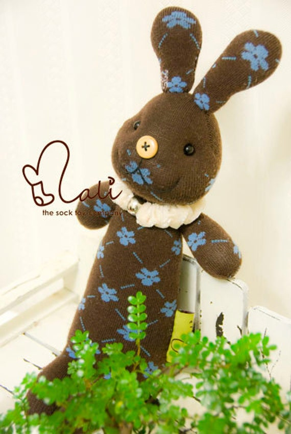 "On Sale - Mali Sock Doll, Sock Rabbit, Brown Blue Flower Prints Sock Toy, ""Princess Floret"""