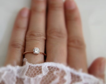 14K solid rose gold solitaire ring with white sapphire, rose gold ring, engagement wedding stackable ring, D340RG14K