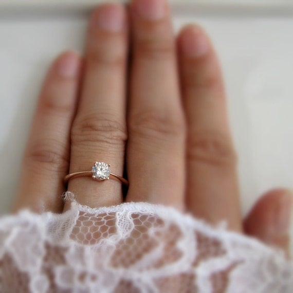 14k Solid Rose Gold Solitaire Ring With White Sapphire Rose