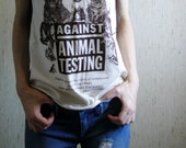 RESERVED For Kim Schell - against animal testing off-shoulder beautiful shirt in natural