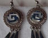 Antique Mayan Silver Chandelier Earrings
