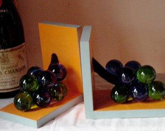 Vintage Glass Grape Bookends