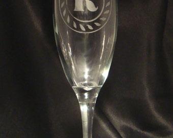 Personalized Monogram Champagne Toasting Flutes