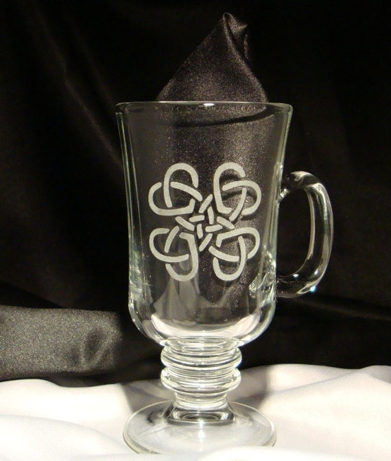 Etched Custom Celtic Heart Irish Coffee Mugs - Set of Two Irish Coffee Cups - Gift for the Couple -