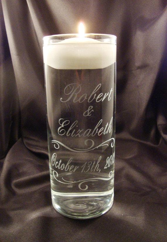 Wedding Unity Candle Vase - Personalized Etched Glass Candle Vase w/ Floating Candle