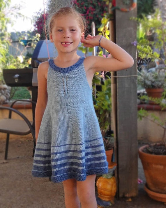 Knitted Blue Striped Dress
