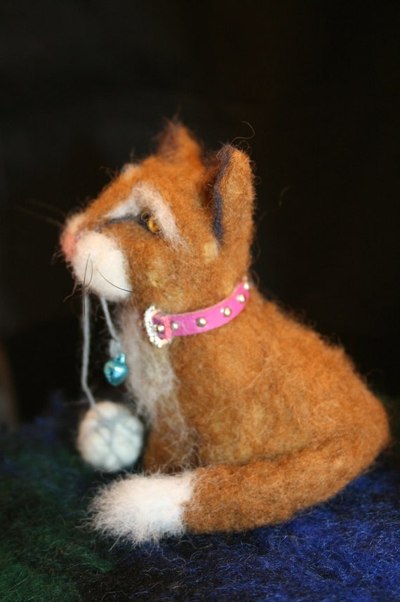 Needle Felted 100% Wool Playful Cat- Ready For Adoption