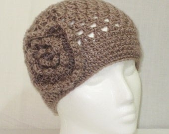 Slouch Beanie with flower Color Tan hand crochet