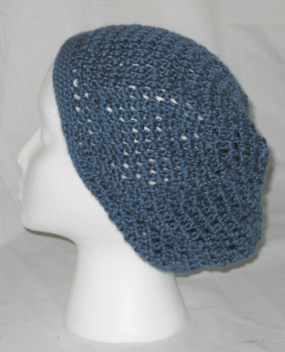 Crochet hat slouchie beanie  in country blue