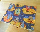 Children's Vinyl Placemat - Robots and Spaceships, Outer Space, Reversible