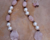 Blushing Beauty. Necklace and Earring set - Rose Quartz and Czech Glass Pearls