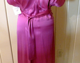 ART DECO DARLING--Amazing 1930s Bias-cut Full Length Silk Gown with Train in Vivid Magenta--Medium