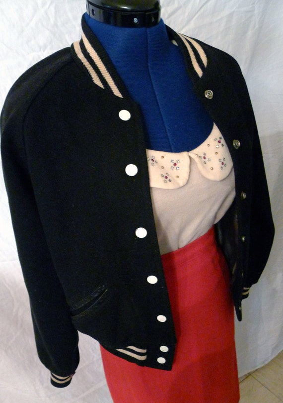 Killer Wilson 1950s Car Club or Letterman Jacket in Black and Cream size 38--S,M