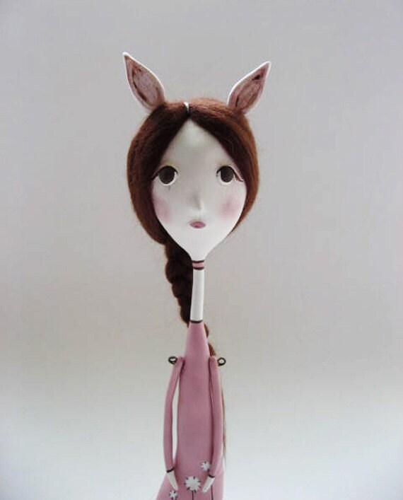 Spring Decor - Bunny girl Doll - OOAK Art Doll - Anthropomorphic Doll