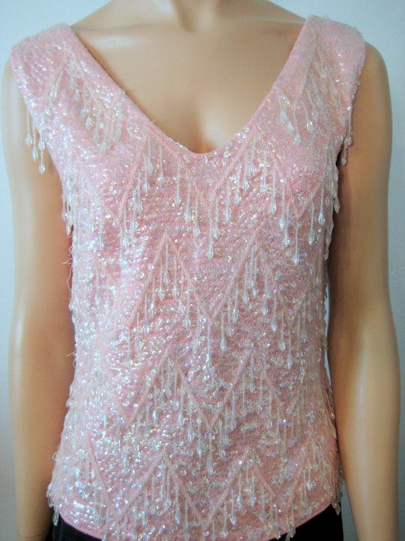 Beaded Sequined Wool Top Pink Vintage 1960's Size 8