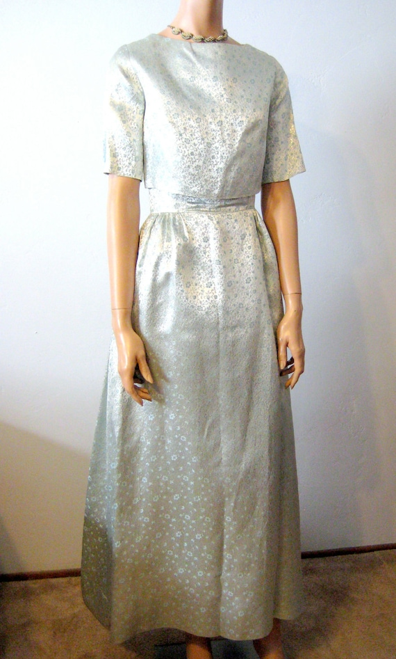 Brocade Party Dress Powder Blue with Jacket Size 2/4 1960's