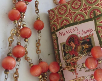 One And A Half Yards Vintage Orange  Cat's Eye Glass Beaded Chain