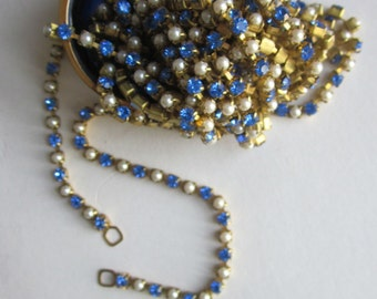 Vintage Saphire Crystal Rhinestone  And Glass Pearl Chain