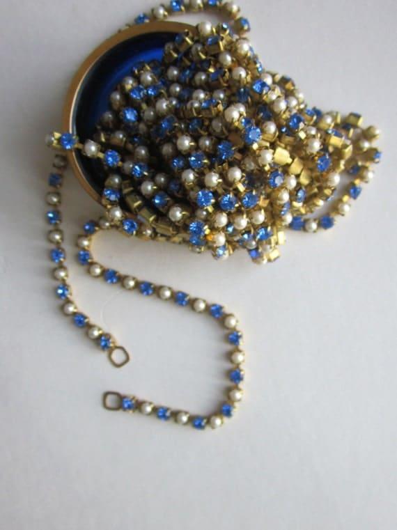 Vintage Saphire Crystal Rhinestone  And Glass Pearl Chain
