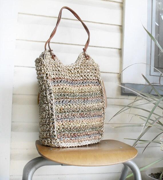 Woven Neutral Striped Vintage BOHO Tote Bag