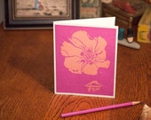 Pink Magenta Flower Block Print Card Hand Pulled