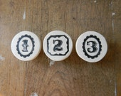Framed Number and Alphabet Clay Knobs