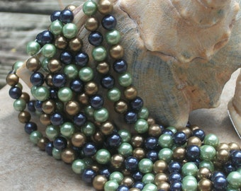 South Sea Shell Pearl Rounds- SPECIAL Multicolor- 6mm round