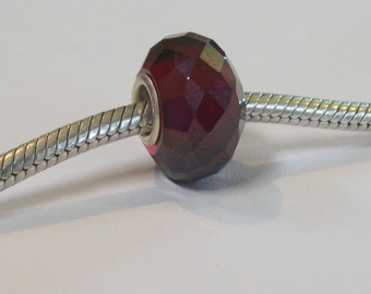 Genuine Cubic Zirconia faceted crystal bead-925 sterling silver core - fits all european bracelets-(14 x 8mm)-garnet red