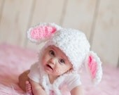 Floppy Bunny Baby Girl or Baby Girl Crochet Hat Earflap Photography Prop Ready Item