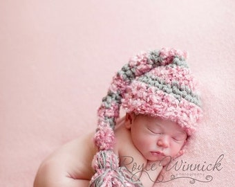 Baby Girl Crochet Hat Big Tassel Striped Elf Newborn Photography Prop Ready Item