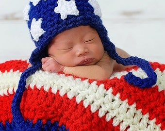 American Flag Baby Boy or Baby Girl Crochet Hat Earflap and Photography Prop Ready Item