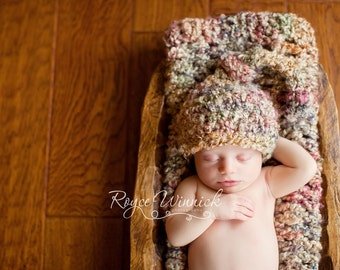 Baby Boy Crochet Hat Fuzzy Knot Photography Prop Ready Item