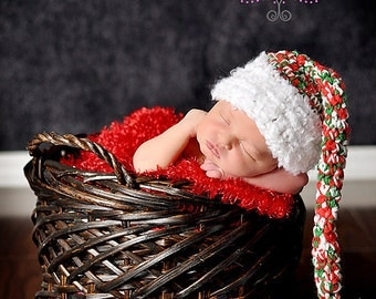 Christmas Elf Hat Crochet Baby Photography Prop