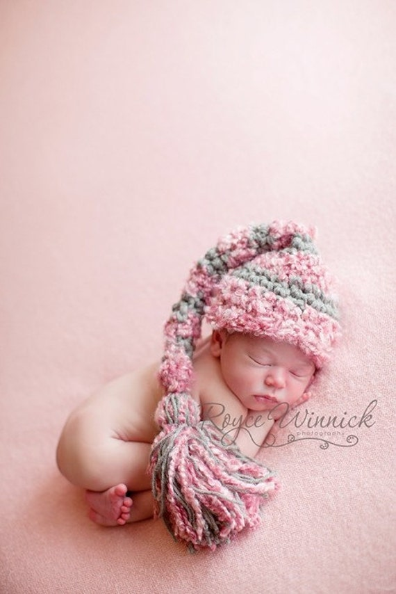 Baby Girl Crochet Hat Big Tassel Striped Elf Newborn Photography Prop Ready Item