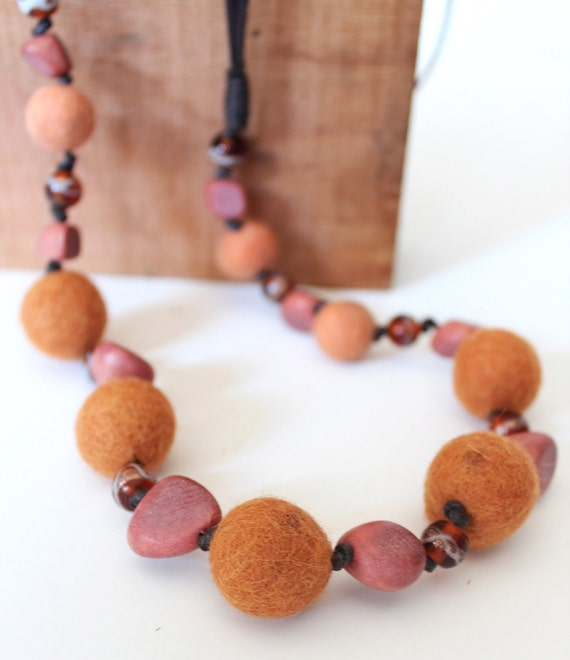 Rustic Orange Felted Necklace With Wood & Painted Acrylic Beads