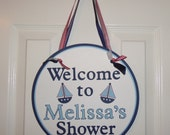 MADE TO ORDER Nautical Birthday or Baby Shower Door Sign - Customize Your Way