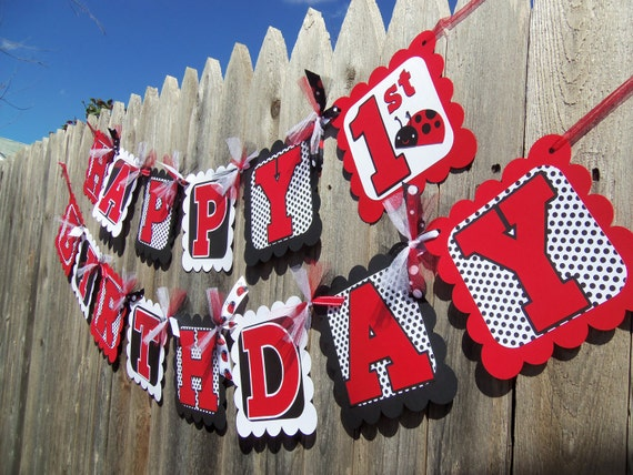 MADE TO ORDER Ladybug Happy Birthday Banner - Customize Your Way