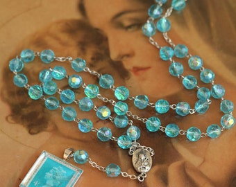 Aquamarine Glass Beauty, Rosary style bead necklace with antique stamp pendant
