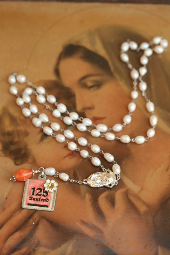 Vintage Baroque Pearl  Rosary style necklace with handmade antique stamp pendant from Europe