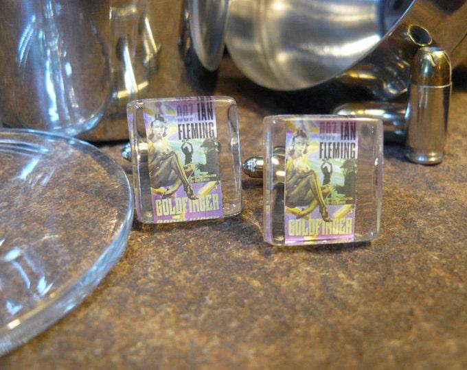 FREE SHIPPING.. Goldfinger...Custom Stamp Cufflinks under Glass Block