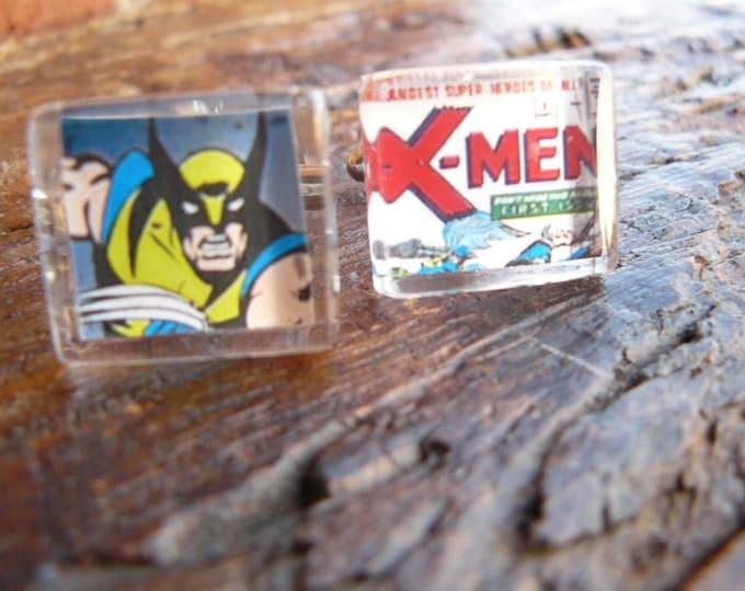 Wolverine...X-Men Supersoldier...Custom Stamp Cufflinks under Glass Block/ Modern Cufflinks  Holiday Sale was 45 now 35