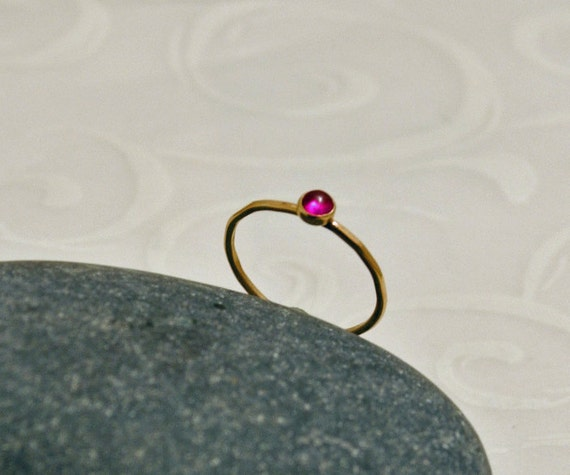 Stacking Ring Ruby 14K Gold Bezel Set Hammered Band July Birthstone Jewelry Red Cabochon