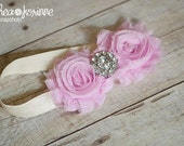 Pink Rhinestone Chiffon Baby Flower Headband, Baby Headband, Newborn Headband, Baby Girl Flower Headband, Photography Prop