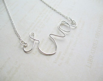 Personalized Silver Wire Necklace, Name Necklace, Wire Jewelry, Swedish Jewelry Design, Made in Sweden