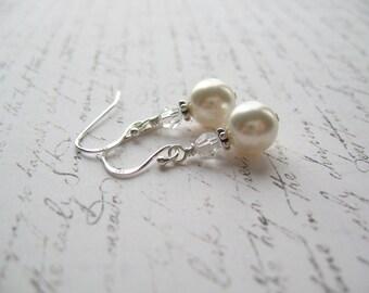 White Pearl Earrings, Swarovski Pearl Earrings, Made in Sweden, Swedish Jewelry Design
